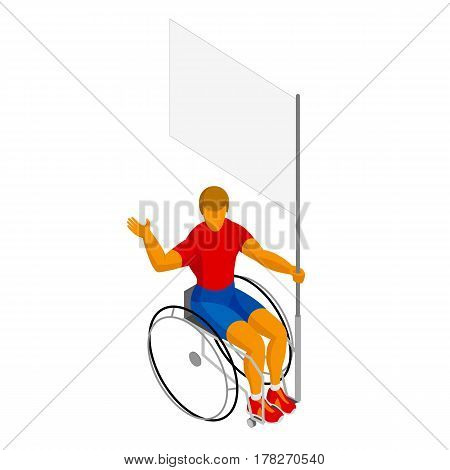 Physically disabled flag bearer with blank standard. 3D wheelchair athlete with empty banner isolated on white background. Isometric sport vector icon.