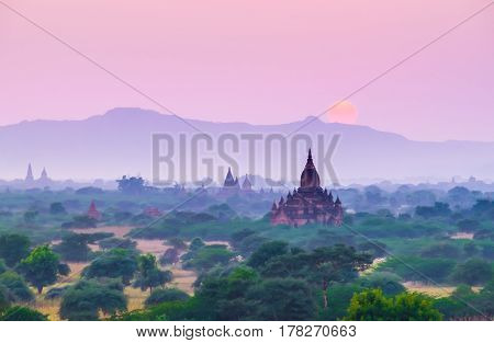Sunset scene with Pagoda field in BaganMyanmar.