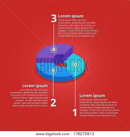 Pie chart on isolated background. Isometric pie charts different heights. Business data, colorful elements for infographics. Vector illustration.