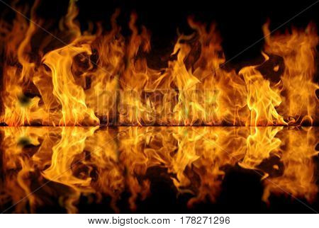 great fire and its reflection obstract background