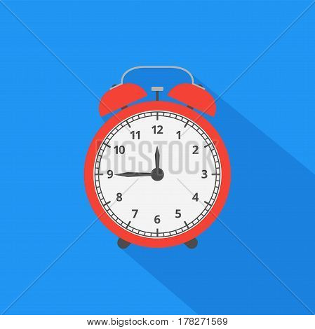 Alarm clock icon with long shadow. Flat design style. Vector illustration.