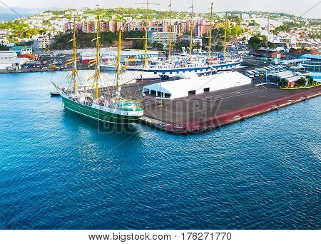 Fort-de-France, Martinique, France - February 08, 2013: The ships in the harbour of Fort-de-France in Martinique, Caribbean