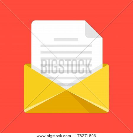 Open envelope with letter. Yellow envelope icon. Email, e-mail, send message concepts. Modern flat design graphic element. Vector illustration