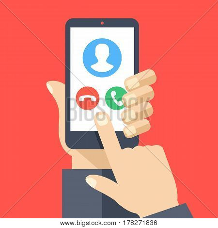 Smartphone with incoming call screen. Hand holding smartphone, finger touching screen. Accept or reject call. Modern concept for web banners, websites, infographics. Flat design vector illustration
