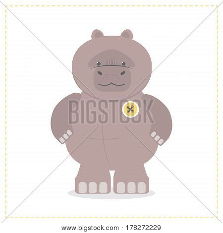 Hippo a child's funny toy. Plush Hippo. Cartoon vector