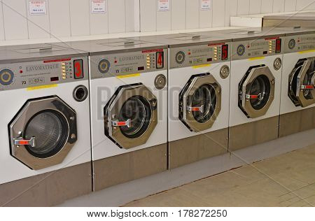 Metz France - july 25 2016 : washing machines in a laundrette