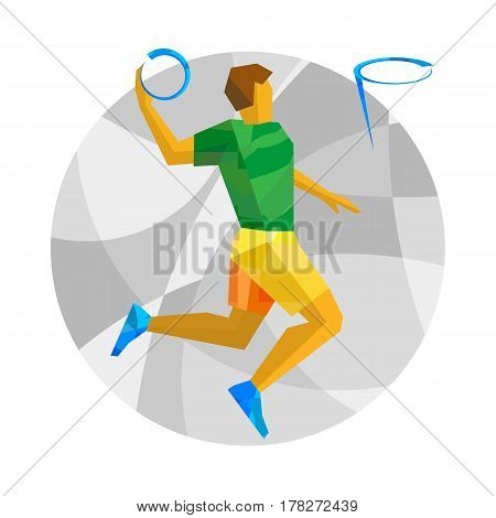 Basketball Player Throwing Ball On White Background