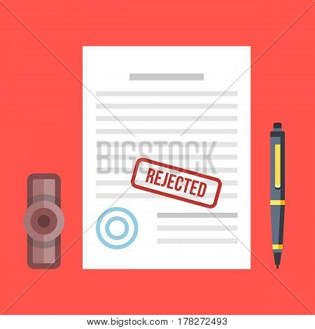 Rejected document with stamp and pen. Rejected application concepts. Top view. Premium quality. Modern flat design graphic elements. Vector illustration