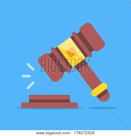 Gavel icon. Court, judgment, bid, auction concepts. Judge gavel, auction hammer. Flat icon. Modern flat design graphic elements. Vector illustration