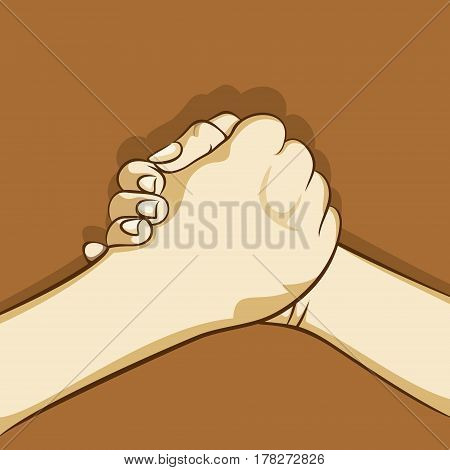 two hand join strongly each other, friendship design