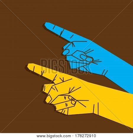 two hand forefinger pointing both finger pointing on same direction