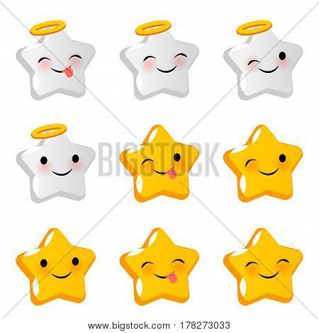 Emotional positive angel cute faces angel smiles set. Vector illustration smile icon. Face emoji yellow icon. Smile funny emotion face. Happy feelings expression message sms.