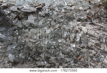 Broken glass crystals close up background view