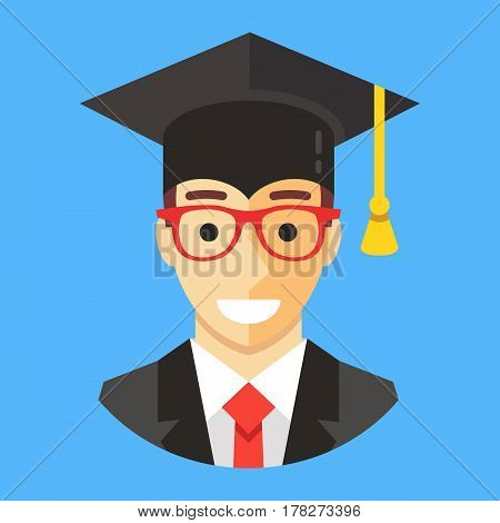 Smiling graduate student wearing mortarboard. Happy man with square academic cap. Graduation concepts. Modern flat design vector illustration