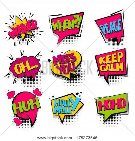 Winner keep calm set colored comic text sound effects halftone pop art style. Vector bubble icon speech phrase cartoon exclusive font burst sounds dot background. Comics book balloon