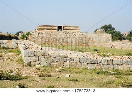 Hampi, India - 11 January 2015: Royal Enclosure temple at Hampi on India