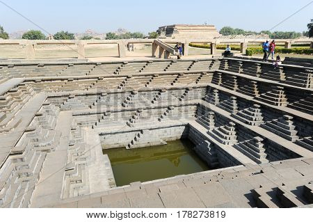 Hampi, India - 11 January 2015: Water tank of Royal Enclosure temple at Hampi on India