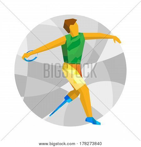 Physically Disabled Sportsman Throwing Discus. Flat Sport  Icon.