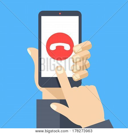 Decline phone call button on smartphone screen. Hand holding smartphone, finger touching screen. Reject call. Modern concept for web banners, web sites, infographics. Flat design vector illustration