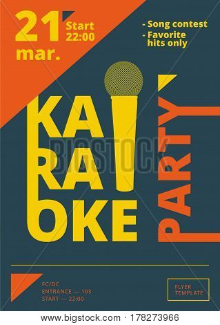 Karaoke Party Poster Or Flyer Template In A4 Size. Song Contest Pre-made Layout. Music Night Club Ev
