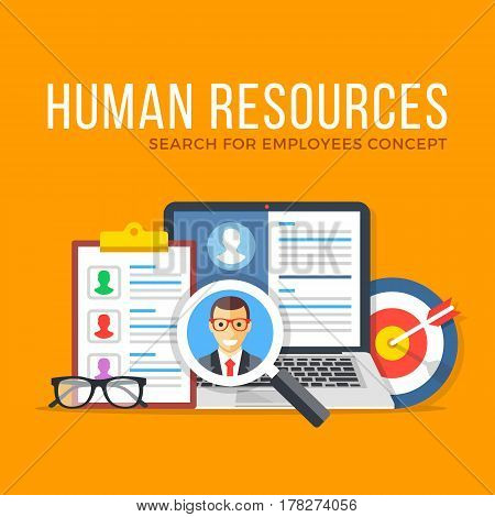 Human resources. Search for employees. Flat design graphic elements set. Modern concepts for web banners, websites, infographics, printed materials. Vector illustration.