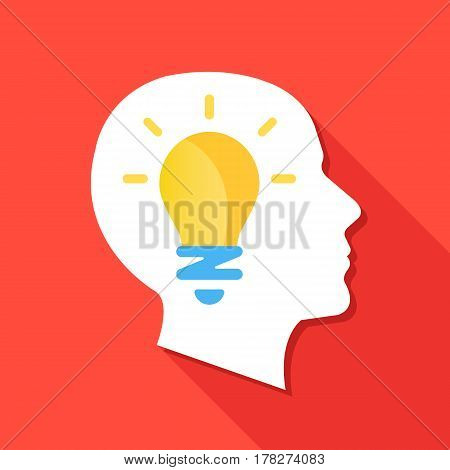 Man head silhouette and light bulb. Face in profile and lightbulb. Inspiration, idea concepts. Modern flat design graphic elements for web banner, web site, infographics. Creative vector illustration