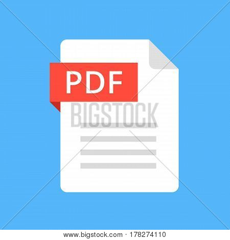 PDF file icon. Flat design graphic illustration. Vector PDF icon