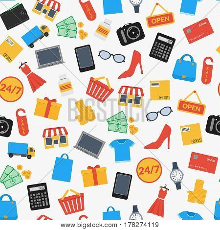 cf25c22420 Set of colorful icons for online shop. Seamless background. Design for