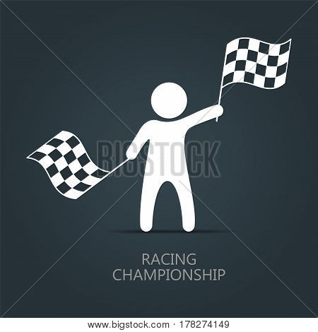 Man with checkered flag icon. Man holding flag. Vector isolated illustration.