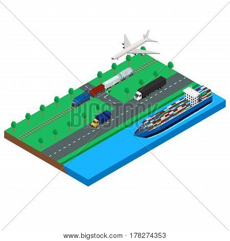 Vector illustration. Set icons logistic cargo transport. Isometric 3D.