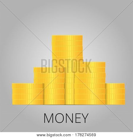 Stacks of gold coins. Income and profits. Isolated on white background. Vector illustration.
