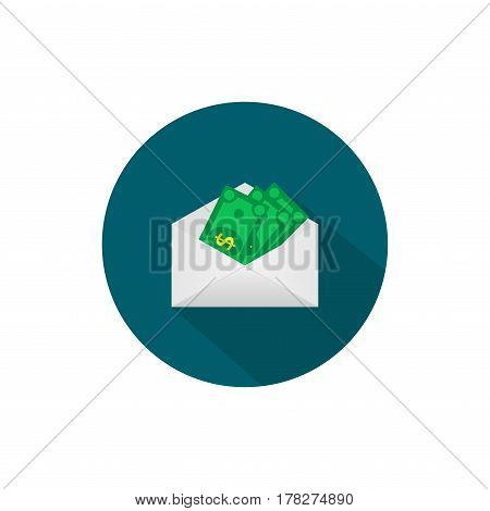 Money in the mail envelope. Cash Icon in flat style. Dollar banknote green. Vector illustration.