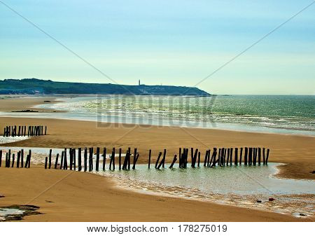 Landscape of French Atlantic Coast with Wooden Breakwaters Outdoors near Sangatte France