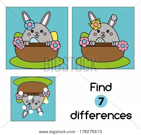 Find the differences educational children game with answer. Kids activity sheet with cute Easter bunny character