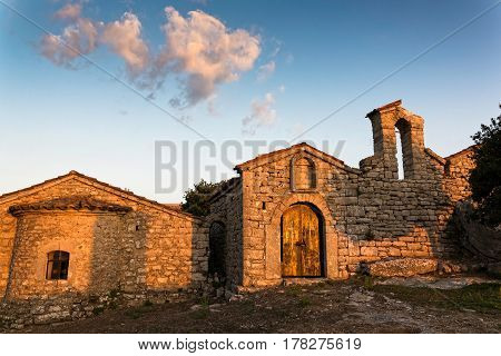 View of the Old Monastery of Voulkano in Peloponnese, Greece