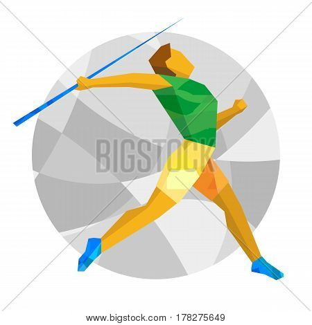 Athlete Throwing The Javelin With Abstract Patterns