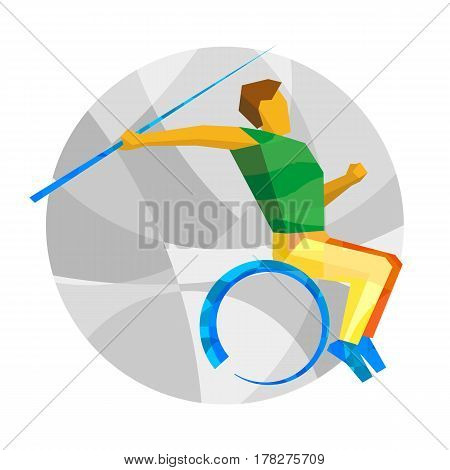 Wheelchair Sportsman Throwing Javelin. Flat Sport  Icon.
