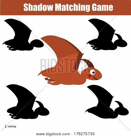 Shadow matching game for children. Find the right, correct shadow task for kids preschool and school age. dino pterodactylus character