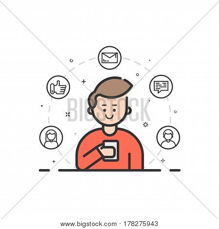 Vector illustration in flat bold filled outline style. Boy holding mobile phone with smile on his face - receiving comments, notifications and appreciations from his customers and followers - stock.