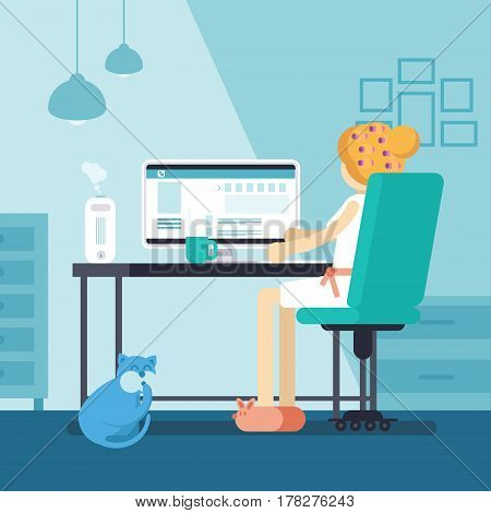Woman Or Girl Sitting In Front Of Pc Surfing Social Media. Young Housewife At Home Working Online In