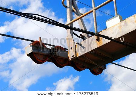 The old Mechanism the cable car and the bright sky