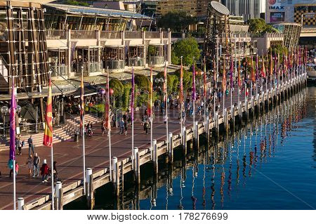 Aerial View Of Cockle Bay Wharf With Al Fresco Restaurants And Cafes