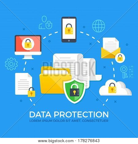 Data protection. Flat design graphic elements, signs and symbols, line icons set. Premium quality. Modern concept for web banners, websites, infographics, printed materials. Vector illustration