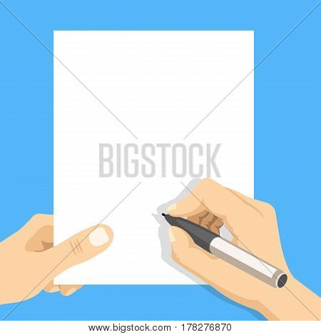 Hand holding blank sheet of paper and hand with pen. Modern flat design vector illustration