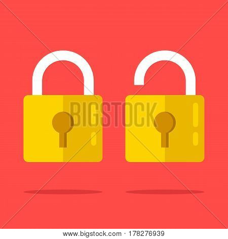 Open and closed lock icons set. Two yellow padlocks. Closed and open lock objects concept. Modern graphic elements. Flat design vector illustration