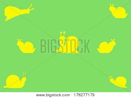 An illustration of different snail sillhouettes on a garden green background