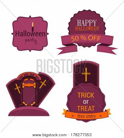 Halloween set badge with label and sticker, crosses