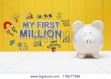 My First Million Text With Piggy Bank