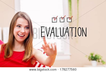 Evaluation concept with young woman in her home