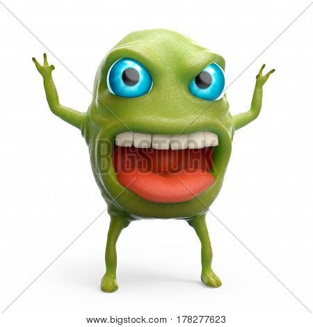 cartoon 3d slime monster scares raising his hands. 3d illustration